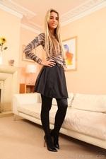 Stunning Blonde Hollie D In Black Shiny Tights - Picture 2