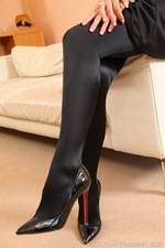 Stunning Blonde Hollie D In Black Shiny Tights - Picture 3