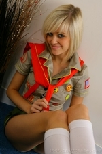 Stunning Blonde Jade B In Cute College Uniform And White Knee Socks - Picture 9