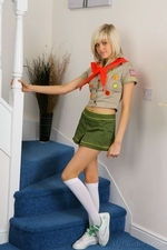 Stunning blonde Jade B in cute college uniform and white knee socks - 01