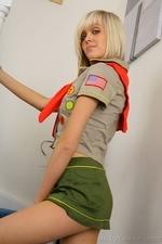 Stunning blonde Jade B in cute college uniform and white knee socks - 02
