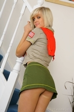 Stunning blonde Jade B in cute college uniform and white knee socks - 03