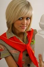 Stunning blonde Jade B in cute college uniform and white knee socks - 04