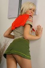 Stunning blonde Jade B in cute college uniform and white knee socks - 05