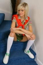 Stunning blonde Jade B in cute college uniform and white knee socks | 15 August 2013