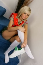 Stunning blonde Jade B in cute college uniform and white knee socks - 07