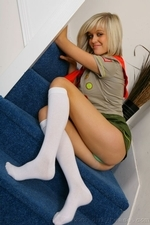 Stunning blonde Jade B in cute college uniform and white knee socks - 08
