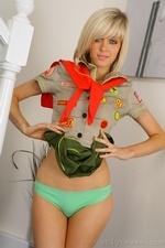 Stunning blonde Jade B in cute college uniform and white knee socks - 12