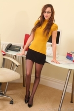 Sexy slender Jo in stockings and secretary outfit - 01