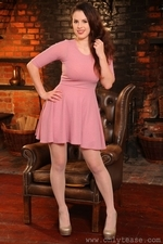 Busty Brunette Jo Paulin Stockings And Sexy Dress - Picture 1