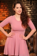 Busty Brunette Jo Paulin Stockings And Sexy Dress - Picture 2