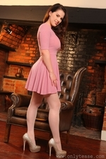 Busty Brunette Jo Paulin Stockings And Sexy Dress - Picture 3