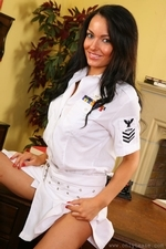 Kayleigh teases her way out of her top gun uniform - 09