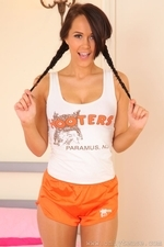 Felicity teasing as a stunning Hooters girl in pantyhose - 03