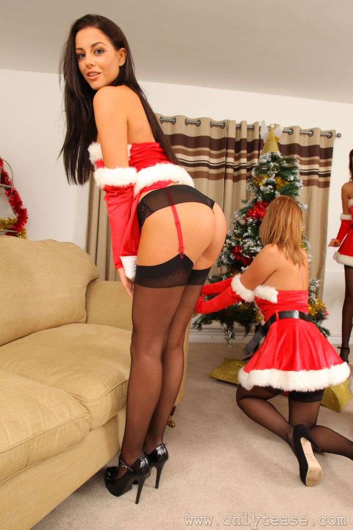 Sexy group getting ready for Christmas