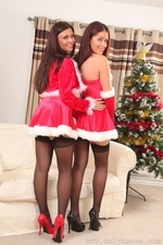 Susie and Steph posing for Christmas in stockings - 03