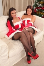 Susie and Steph posing for Christmas in stockings | 7 December 2014
