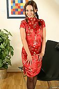 Carla In A Sexy Red Chinese Dress With Stockings. - Picture 1