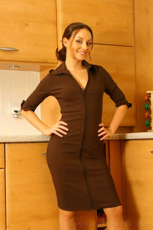 Carla In A Gorgeous Brown Dress. - Picture 2