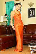 Carla In A Stunning Orange Evening Dress - Picture 1