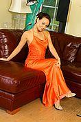 Carla In A Stunning Orange Evening Dress - Picture 5