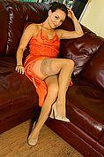 Carla In A Stunning Orange Evening Dress - Picture 6