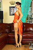 Carla In A Stunning Orange Evening Dress - Picture 9