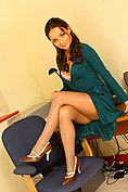 Carla In A Stunning Green Dress And Lovely Light Pink Lingerie. - Picture 6