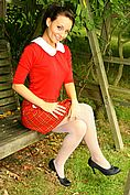 Stunning Carla In Red College Uniform And White Pantyhose. - Picture 1