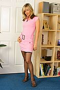 Melanie In Gorgeous Pink Minidress With Pink And Black Lingerie Beneath. - Picture 1
