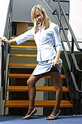 Melanie In Sexy Secretary Outfit On The Stairs - Picture 1