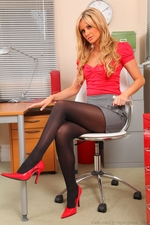 Saucy Blonde Secretary Samantha K Reveals Raunchy Red Lingerie As She Teases Her Way Out Of Her Office Clothes - Picture 2