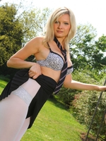 Beautiful College Girl Elle Richie Feels Too Hot And Slips Out Of Her Uniform - Picture 10