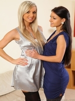 Tammy And Kristina Pose In Their Opaque Stockings - Picture 1