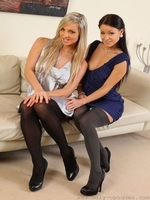 Tammy And Kristina Pose In Their Opaque Stockings - Picture 4