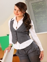 Beautiful Secretary Removes Her Shorts And Vest To Reveal Sexy Lingerie. - Picture 1
