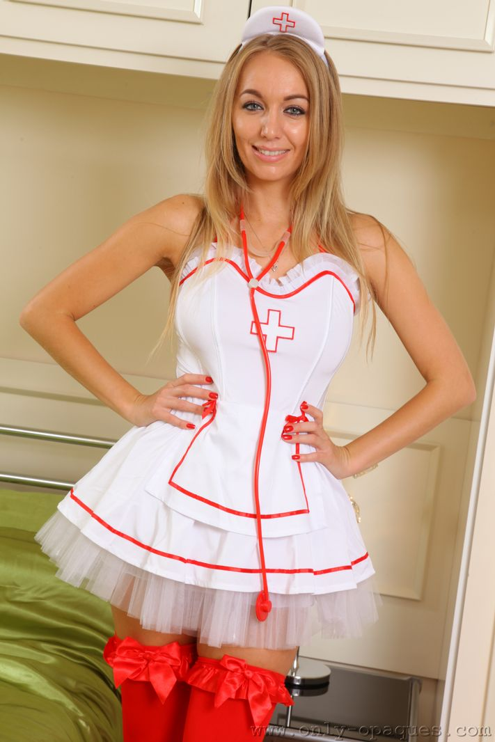 brunette nurse wearing red stockings wants to be fucked hard  173912