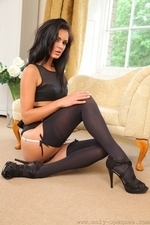 The Gorgeous Emma D In Black Mini Skirt And Suspenders - Picture 10