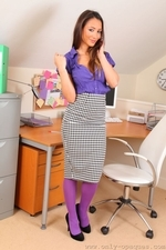Sexy And Smily Anna Maria In Purple Opaque Pantyhose - Picture 1