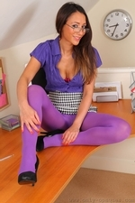 Sexy And Smily Anna Maria In Purple Opaque Pantyhose - Picture 9