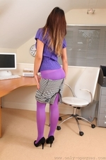 Sexy And Smily Anna Maria In Purple Opaque Pantyhose - Picture 10
