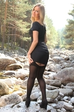Gorgeous Elle Richie In Lbd With Black Opaque Stockings - Picture 4