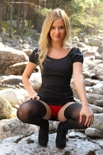 Gorgeous Elle Richie In Lbd With Black Opaque Stockings - Picture 5