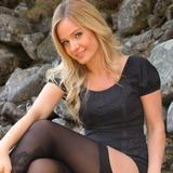 """""""Gorgeous Elle in LBD with black opaque stockings"""""""