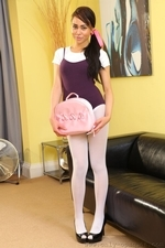Dusky Beauty Alegra Thomas In Ballet Outfit And White Pantyhose - Picture 1