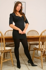 Sophisticated Secretary Cate Harrington In Sexy Thick Black Pantyhose - Picture 1