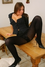 Sophisticated Secretary Cate Harrington In Sexy Thick Black Pantyhose - Picture 9