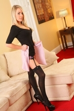 Becky R Slips Out Of Her Pink Skirt And Tight Black Top - Picture 8