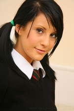 Cute Brunette Emily J Dresses Out Her College Uniform - Picture 4