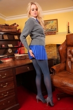 Amber Leigh Strips Out Of Her Short Blue Miniskirt And Tight - Picture 3